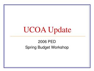 UCOA Update