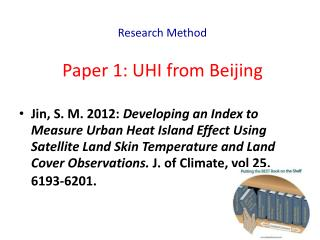 Paper 1: UHI from Beijing