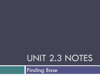 Unit 2.3 Notes