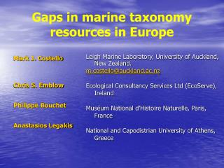 Gaps in marine taxonomy resources in Europe