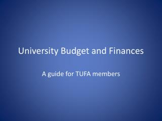 University Budget and Finances