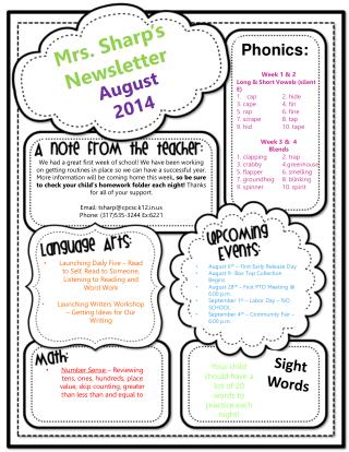 Mrs. Sharp�s Newsletter