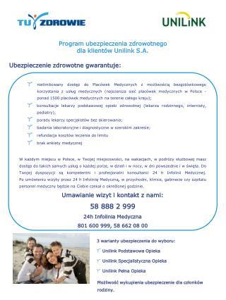 Program ubezpieczenia zdrowotnego  dla klientów Unilink S.A.