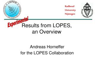 Andreas Horneffer for the LOPES Collaboration