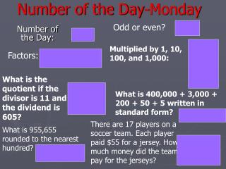 Number of the Day-Monday