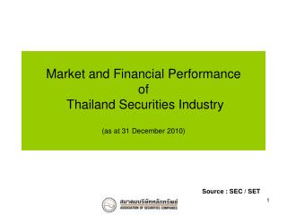 Market and Financial Performance  of  Thailand Securities Industry (as at 31 December 2010)