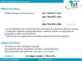 HTML>Formater du texte>Les titres