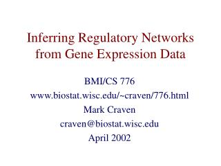 Inferring Regulatory Networks from Gene Expression Data