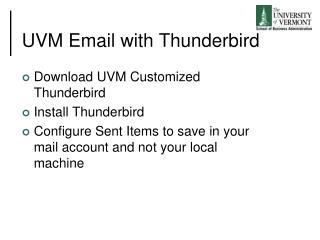 UVM Email with Thunderbird