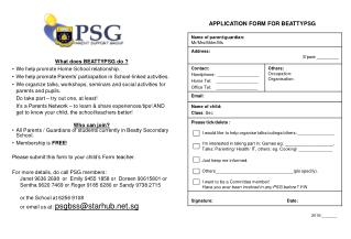 APPLICATION FORM FOR BEATTYPSG