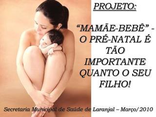 """PROJETO: """"MAMÃE-BEBÊ"""" - O PRÉ-NATAL É TÃO IMPORTANTE QUANTO O SEU FILHO!"""