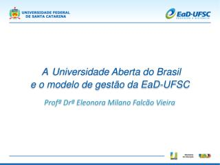 A Universidade Aberta do Brasil  Profª Drª  Eleonora  Milano  Falcão Vieira