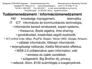 Budapesti CORVINUS EgyetemKertészettudományi KarMenedzsment és Marketing Tanszék