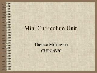 Mini Curriculum Unit