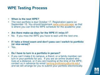 WPE Testing Process