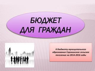 К бюджету муниципального образования Сорокинское сельское поселение на 2014-2016 годы