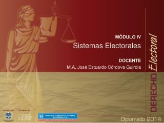 MÓDULO IV Sistemas Electorales DOCENTE M.A. José Estuardo Córdova  Guirola