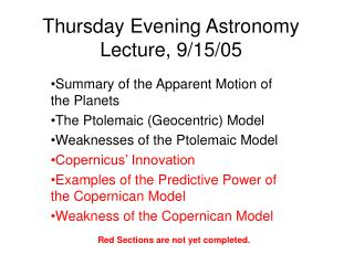 Thursday Evening Astronomy Lecture, 9/15/05