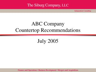 ABC Company Countertop Recommendations