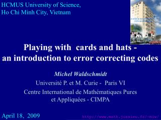 Playing with  cards and hats -   an introduction to error correcting codes