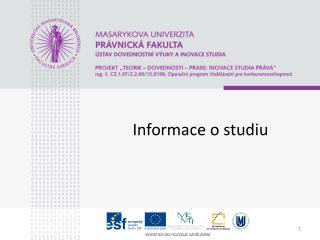 Informace o studiu