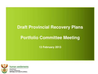 Draft Provincial Recovery Plans Portfolio Committee Meeting 13 February 2013