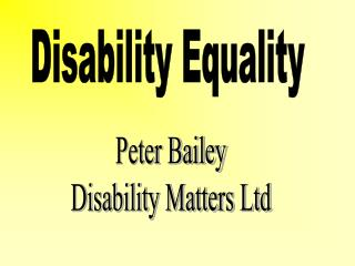 Disability Equality