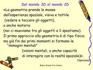 Dal mondo 3D al mondo 2D