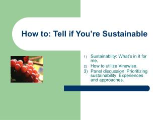 How to: Tell if You're Sustainable