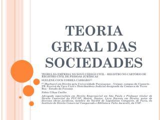 TEORIA GERAL DAS SOCIEDADES