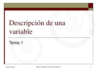Descripci n de una variable