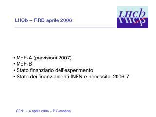 LHCb – RRB aprile 2006  MoF-A (previsioni 2007)   MoF-B   Stato finanziario dell'esperimento