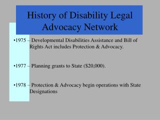 History of Disability Legal Advocacy Network