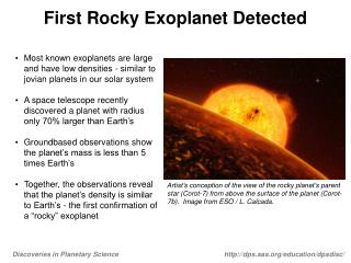 First Rocky Exoplanet Detected