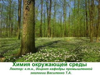 Лектор: к.т.н., доцент кафедры промышленной экологии Василенко Т.А.