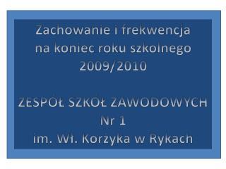 Zachowanie i frekwencja  na koniec roku szkolnego 2009/2010  ZESPÓŁ SZKÓŁ ZAWODOWYCH  Nr 1