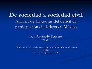 Ireri Ablanedo Terrazas ITAM VI Seminario Anual de Investigación sobre el Tercer Sector en México
