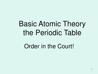 Basic Atomic Theory  the Periodic Table