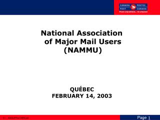 National Association  of Major Mail Users (NAMMU)