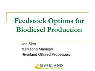 Feedstock Options for Biodiesel Production