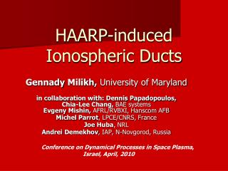 HAARP-induced Ionospheric Ducts