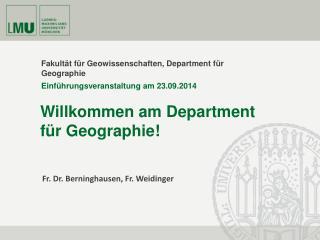 Fakultät für Geowissenschaften, Department für Geographie