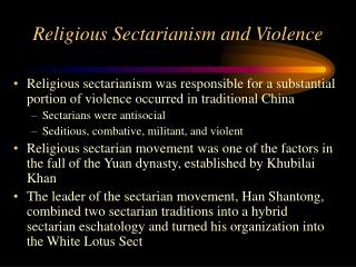 Religious Sectarianism and Violence