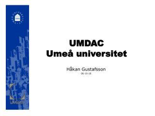 UMDAC Umeå universitet