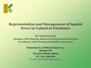 Representation and Management of Spatial Error in Cadastral Databases