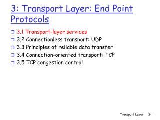 3: Transport Layer: End Point Protocols