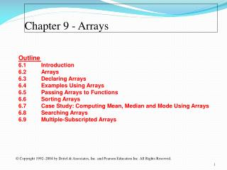 Chapter 9  - Arrays