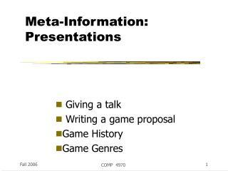Meta-Information: Presentations