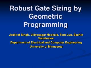 Robust Gate Sizing by Geometric Programming
