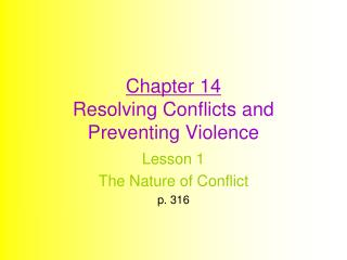 Chapter 14 Resolving Conflicts and Preventing Violence